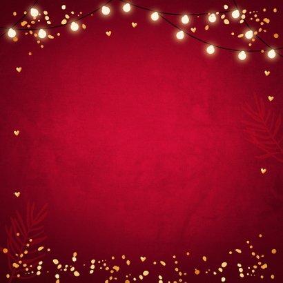Kerstkaart rood fotocollage confetti goudlook 2
