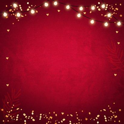 Kerstkaart rood fotocollage confetti goudlook Achterkant