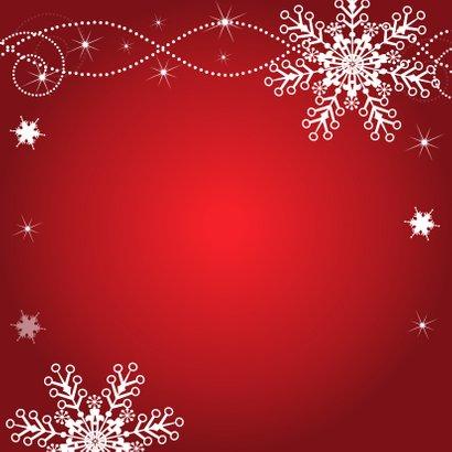 Kerstkaart rood fotocollage sneeuwvlokken Achterkant