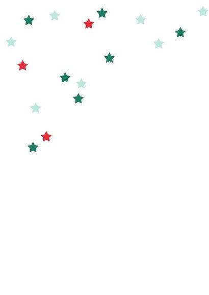 Kerstkaart rood groen blauw sterren 2