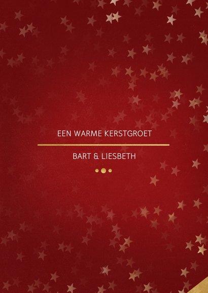Kerstkaart rood met foto en goud 3