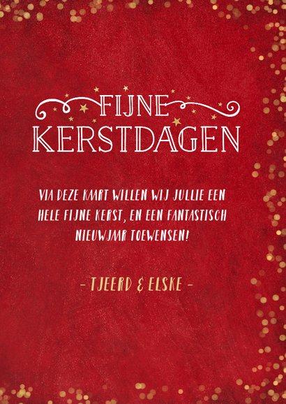 Kerstkaart rood met gouden confetti en eigen foto 3