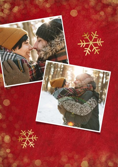 Kerstkaart rood met gouden confetti en foto's 2