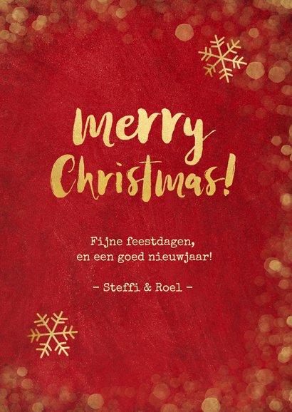 Kerstkaart rood met gouden confetti en foto's 3