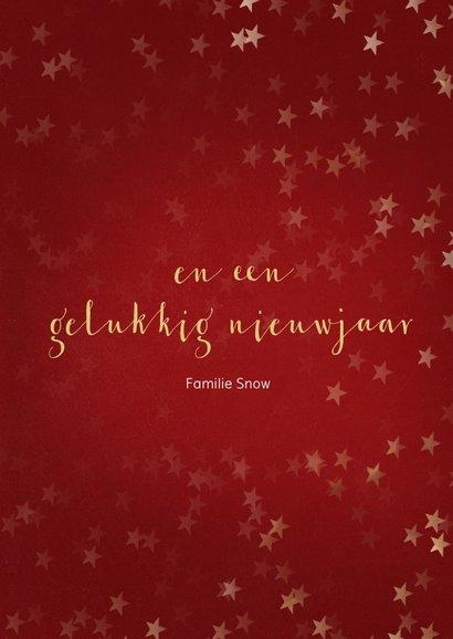 Kerstkaart rood met sneeuwvlok van goud - een gouden kerst 3