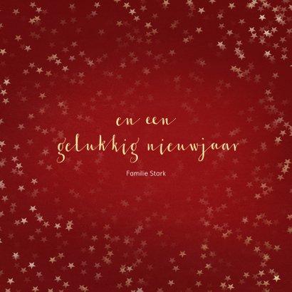 Kerstkaart rood met ster van goud - Een gouden kerst 3
