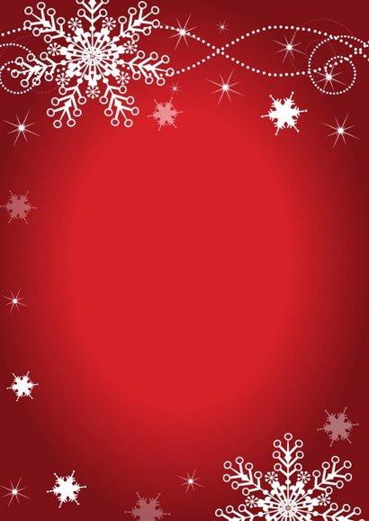 Kerstkaart rood sneeuwvlokken fotocollage  2