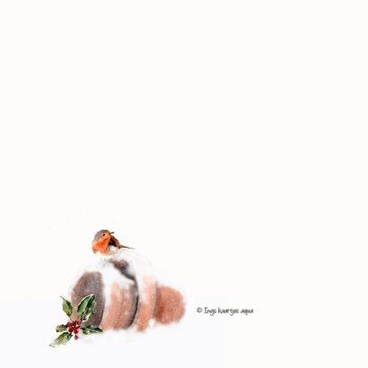 Kerstkaart Roodborstje op besneeuwde bloempot 2