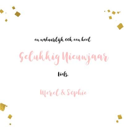 Kerstkaart roze verf strepen goud kader en sterren 3