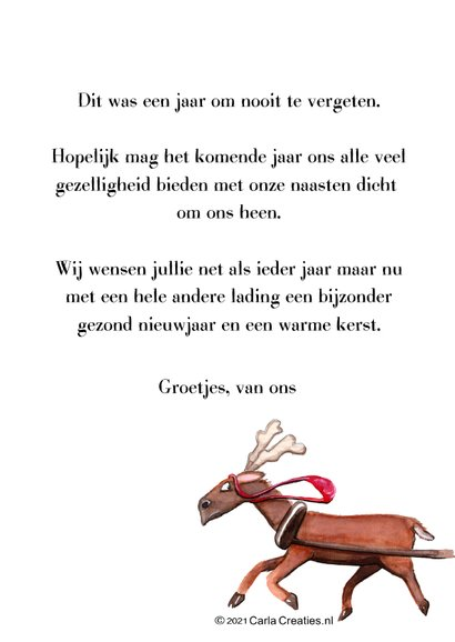 Kerstkaart Rudolf oh deer what a year 3