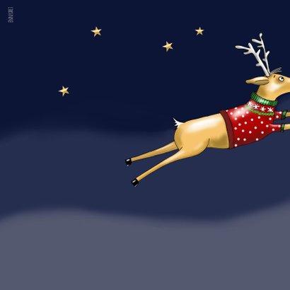 Kerstkaart - Rudolph in glazen kerstbal 2