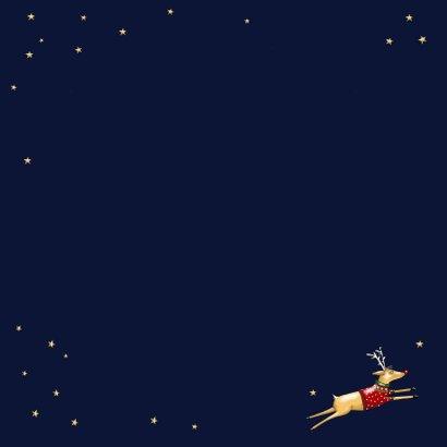 Kerstkaart - Rudolph in glazen kerstbal Achterkant