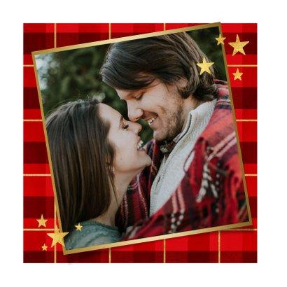 Kerstkaart ruitpatroon foto Merry Christmas & gouden sterren 2