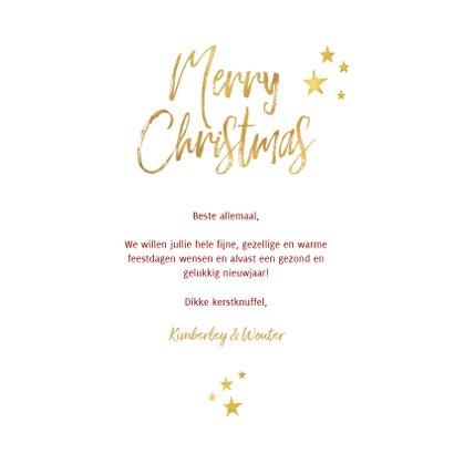 Kerstkaart ruitpatroon foto Merry Christmas & gouden sterren 3