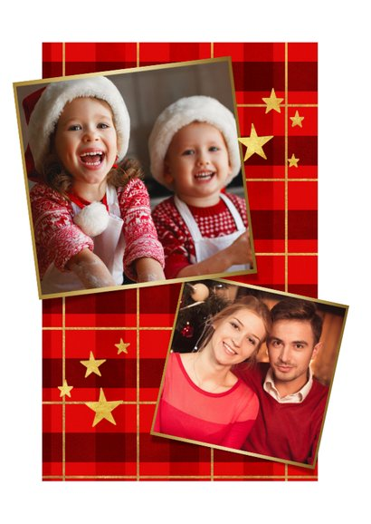 Kerstkaart ruitpatroon met goud 'Merry Christmas' en foto 2