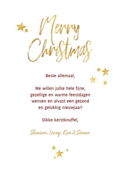 Kerstkaart ruitpatroon met goud 'Merry Christmas' en foto 3