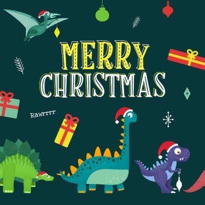 Kerstkaart Santasaurus dino vrolijk cadeautjes crazy 2