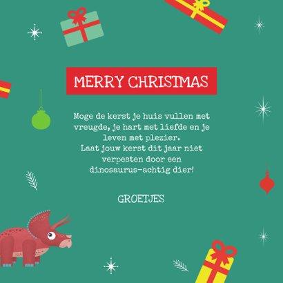 Kerstkaart Santasaurus dino vrolijk cadeautjes crazy 3