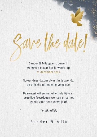 Kerstkaart save the date blauwe waterverf en gouden duifjes 3