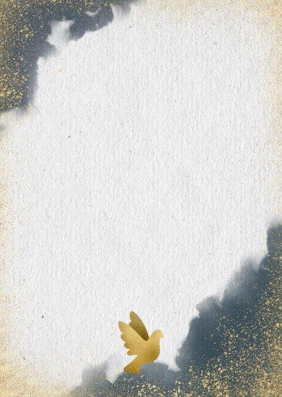 Kerstkaart save the date blauwe waterverf en gouden duifjes Achterkant