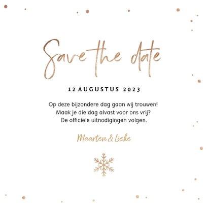 Kerstkaart save the date goud confetti sneeuwvlokken foto 3