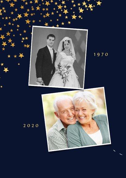 Kerstkaart save the date jubileum sterren goud confetti foto 2