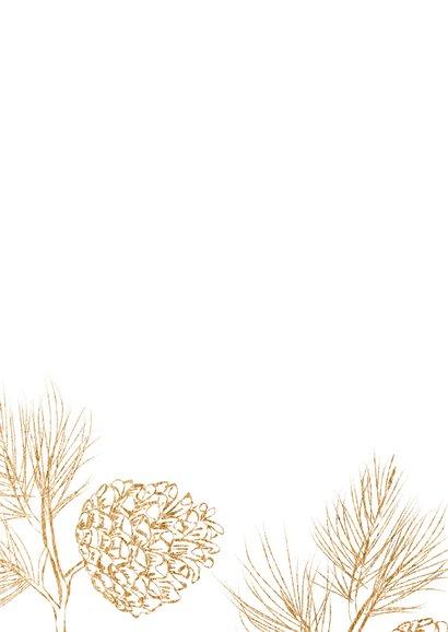 Kerstkaart scandinavisch bruin hout en dennenappels Achterkant