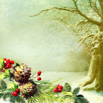 Kerstkaart scrapbook kerstkaart met muisjes bos 2