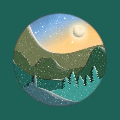 Kerstkaart silhouet landschap in rond kader 2