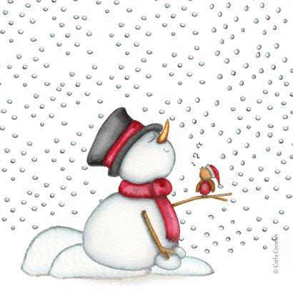 Kerstkaart slapende sneeuwpop 2