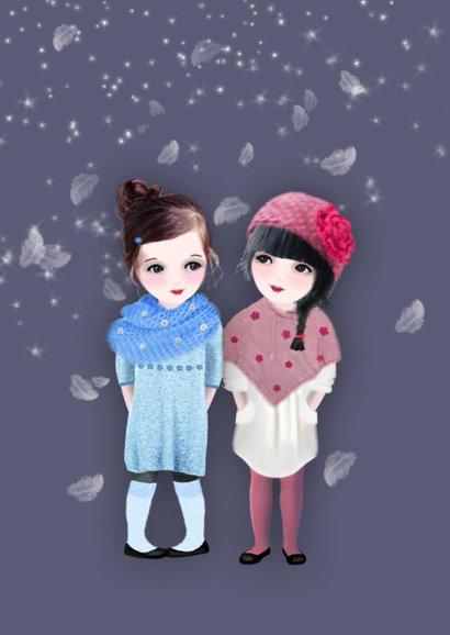 Kerstkaart Sneeuw Loulou & Ting 2
