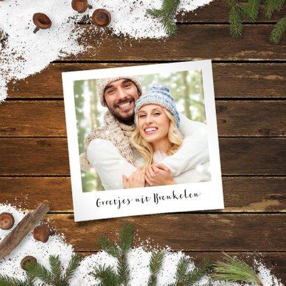 Kerstkaart sneeuw op hout 2019 2