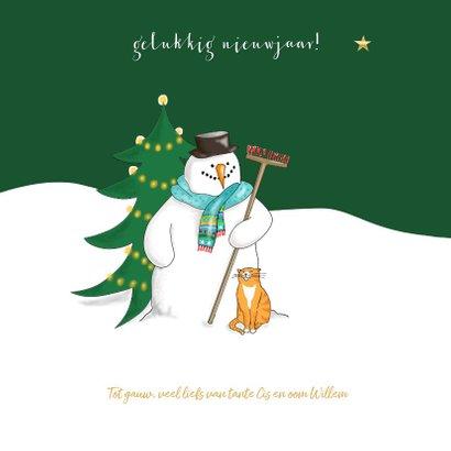 Kerstkaart - Sneeuwman in kerstbal 3