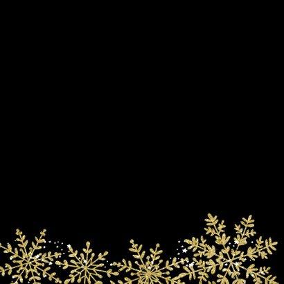 Kerstkaart sneeuwvlokken goud glitter 2