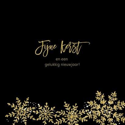 Kerstkaart sneeuwvlokken goud glitter 3