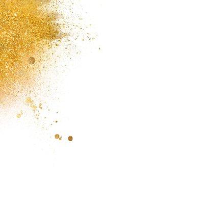 Kerstkaart goud vierkant foto 2