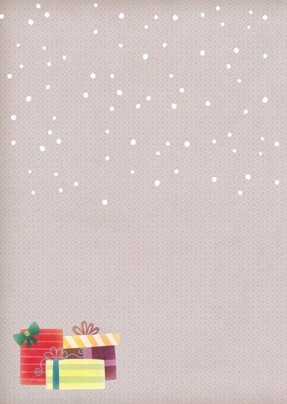 Kerstkaart staand beer met muts 2