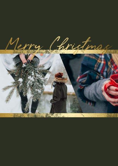 Kerstkaart staand fotocollage met gouden accenten 2