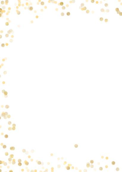 Kerstkaart staand met gouden confetti 2
