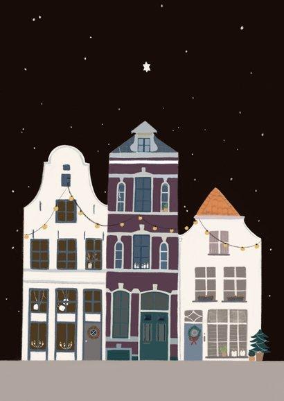 Kerstkaart stad in winterse sfeer Achterkant