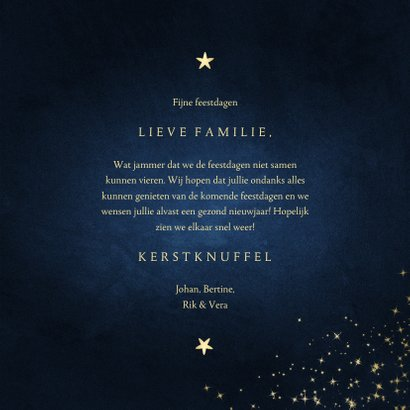 Kerstkaart stay safe donkerblauw met sparkles 3