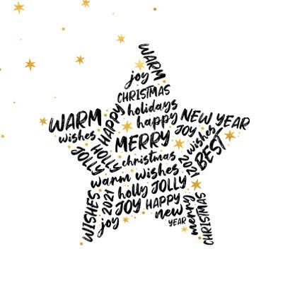 Kerstkaart ster met woorden goudlook 2