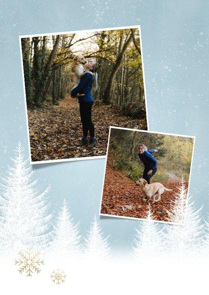Kerstkaart sterkte met witte boompjes, sneeuwvlokken en foto 2