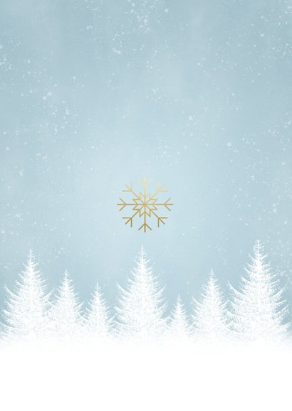 Kerstkaart sterkte met witte boompjes, sneeuwvlokken en foto Achterkant