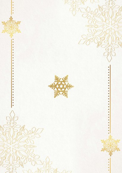 Kerstkaart sterren en fotolijst goud beige Achterkant