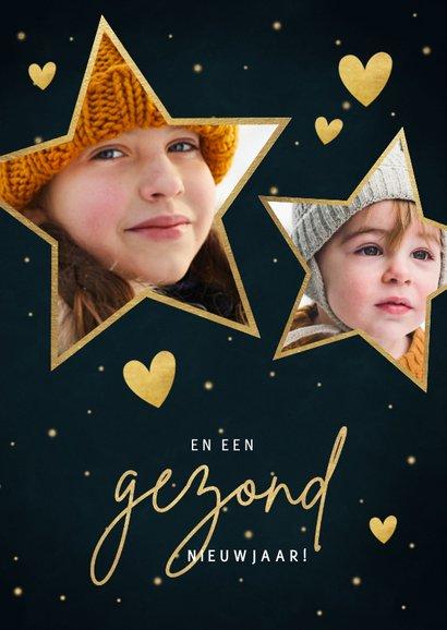 Kerstkaart sterren, foto's, hartjes en tekst liefde & licht 2