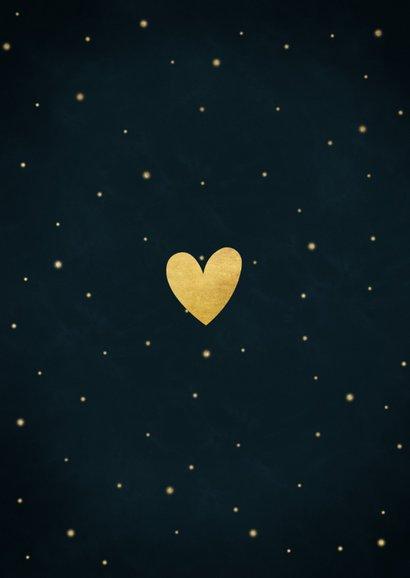 Kerstkaart sterren, foto's, hartjes en tekst liefde & licht Achterkant