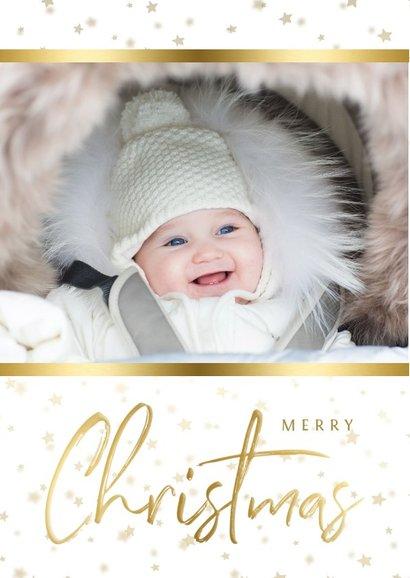 Kerstkaart sterren met gouden accent en foto 2