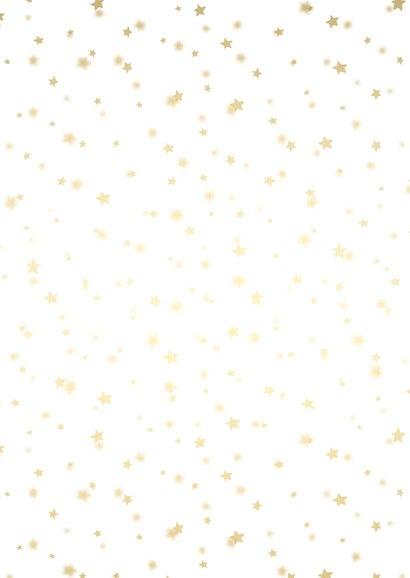 Kerstkaart sterren met gouden accent en foto Achterkant