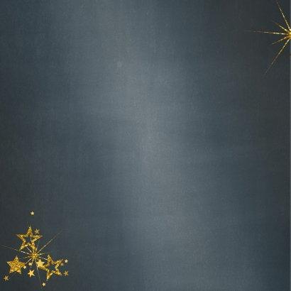 Kerstkaart stijlvol blauw met foto en goud sterren 2021 2